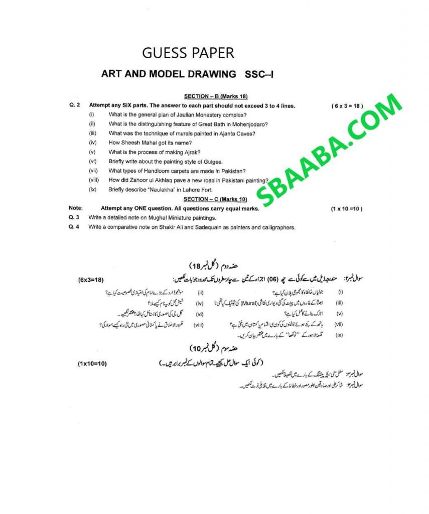 Art and Model drawing Guess paper 9th Class 2021