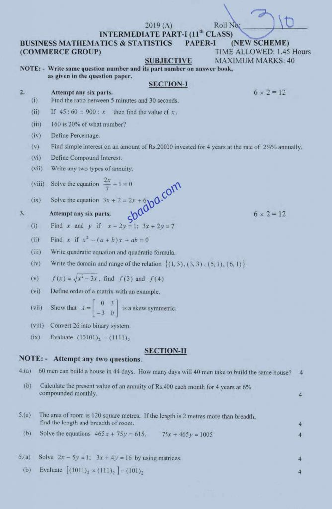 Business Mathematics and Statistics Inter A2019 11th