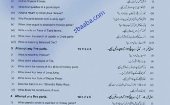 Health and Physical Education 10th class past paper 2019