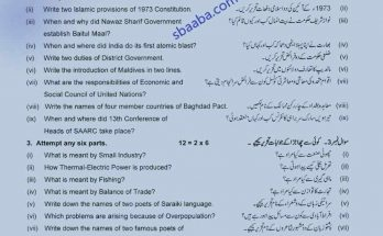 Pakistan Studies 10th class past paper 2019