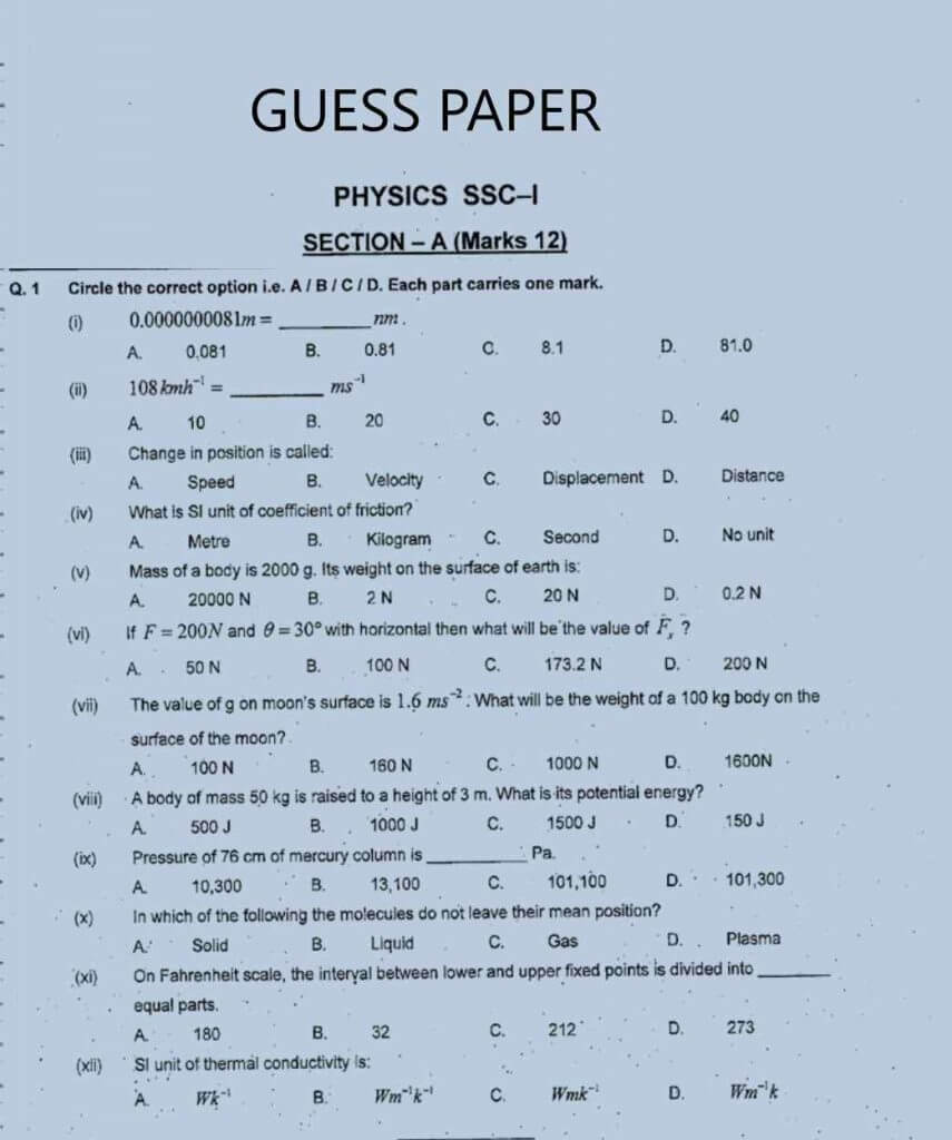 Guess paper  physics 9th class 2021