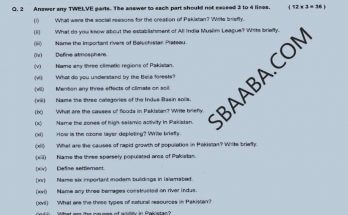 Geography-of-pakistan Guess paper 9th Class 2021